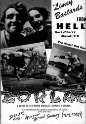 Zorlac Skateboards Advert: Mark and Barry Abrook 1988