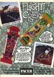 Pacer complete skateboards advert December 1989