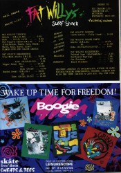 Fat Willy's and Skate Freedom adverts from 1989