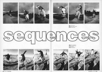 Skateboard sequences: 180 Ollie to Nose and Frontside Bench Slide to Revert