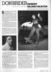 Don Brider mini-interview from 1991 Rad Skateboard Magazine