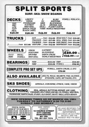 Split Sports Manchester skateboard shop Advert from 1991